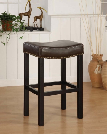 Armen Art Lcmbs013Babc30 Mbs-013 Tudor Backless 30 Inch Stationary Barstool In Antique Brown Leather With Nailhead Accents