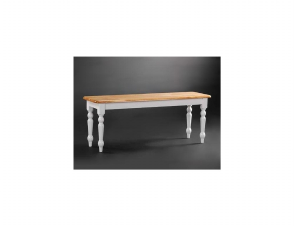 Boraam 36369 Farmhouse Dining Bench - White And Natural Finish