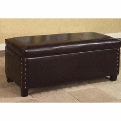 4D Concepts 443747 Faux Leather Storage Bench with Nailhead Trim - Brown