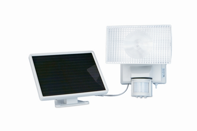 MAXSA Innovations 40110 Solar-Powered 30 Watt Halogen Motion-Activated Outdoor Security Floodlight- Off White