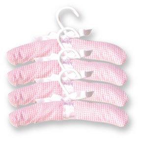 Trend Lab 100002 Hangers- 4-Pack Pink Gingham Seersucker- 11 Inch X 1.25 Inch X 2.75 Inch Hook