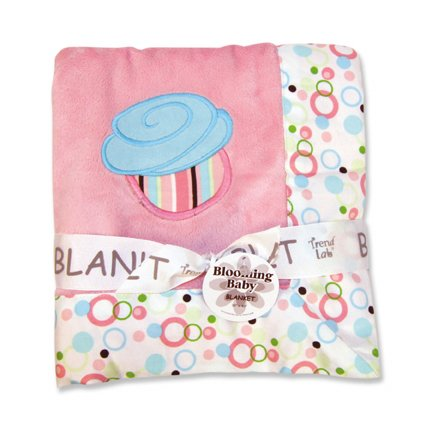 Trend Lab 102141 Receiving Blanket- Pink Velour With Cupcake Dot Twill Trim & Velour Cupcake Applique With Embroidery
