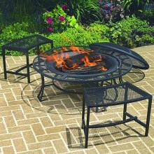 Coropration  Steel Mesh Rim Fire Pit & 2 Single Benches Set
