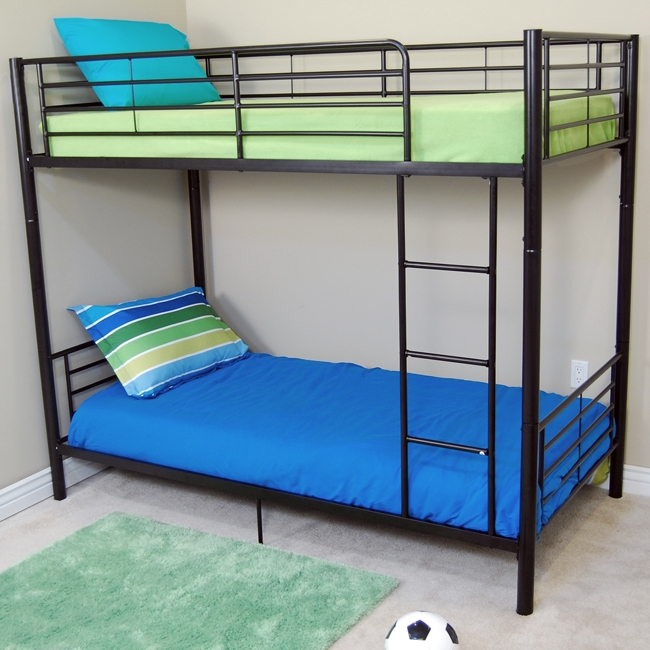 Walker Edison BTOTBL Sunset Twin-Twin Bunk Bed- Black WKED093
