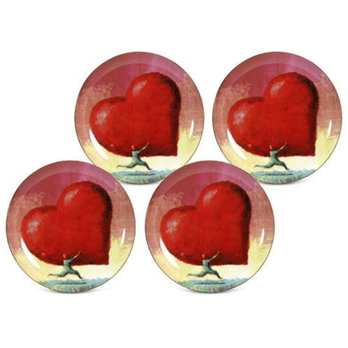 Arjang & Co PS-7102 All Heart Dessert- Salad Plates- Set of 4