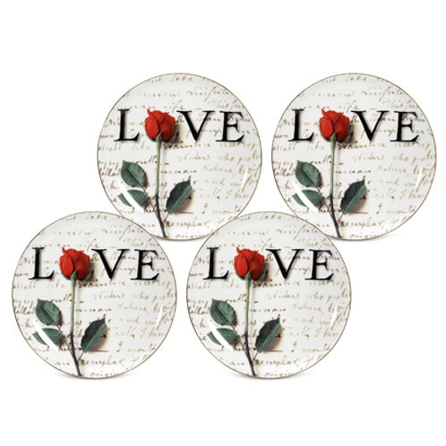 Arjang & Co PS-7104 Love Letters Dessert- salad Plates- Set of 4