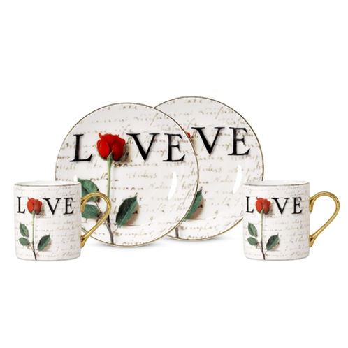 Arjang & Co PS-7204 Love Letters Espresso Cup and Saucer- Set of 2 ARJ057