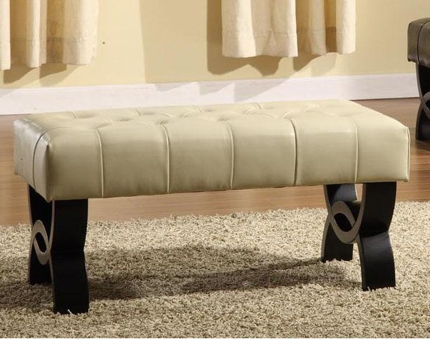 Image of Armen Living Lc5012Bebccr24 5012 Central Park 24 Inch Tufted Cream Leather Ottoman