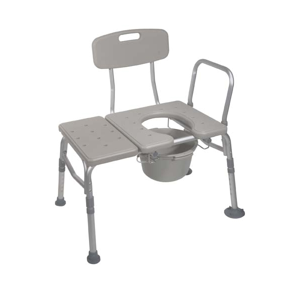 Drive Medical 12011KDC-1 Combination Plastic Transfer Bench with Commode Opening
