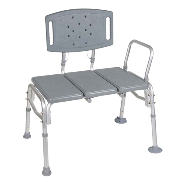 Drive Medical 12025KD-1 Heavy Duty Bariatric Plastic Seat Transfer Bench- Gray