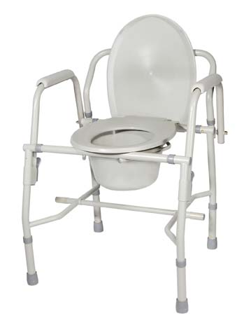 Drive Medical 11125KD-1 K. D.  Deluxe Steel Drop-Arm Commode- Tool Free