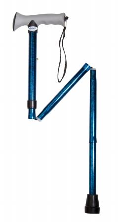 Drive Medical 10370BC-1 Adjustable Height Aluminum Folding Cane with Comfortable Gel Hand Grip- Blue Crackle