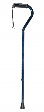 Drive Medical 10372BC-1 Adjustable Height Offset Handle Cane with Comfortable Gel Hand Grip- Blue Crackle