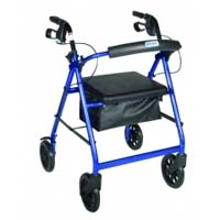Drive Medical R728BL Aluminum Rollator with Fold Up and Removable Back Support  Padded Seat  8 inch Casters with Loop Locks- Blue
