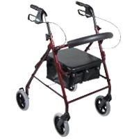 Drive Medical R728RD Aluminum Rollator with Fold Up and Removable Back Support  Padded Seat  8 inch Casters with Loop Locks- Red