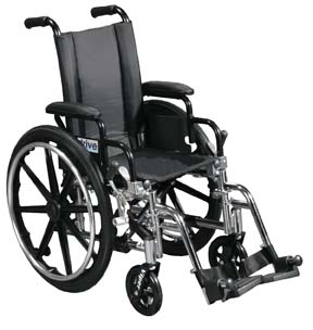 Drive Medical L414DDA-ELR Viper Wheelchair with Various Flip Back Desk Arm Styles and Front Rigging Options- Black