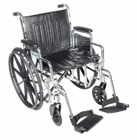 Drive Medical CS20DFA-ELR Chrome Sport Wheelchair with Various Arm Styles and Front Rigging Options- Black and Chrome