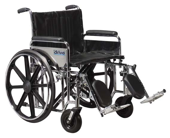 Drive Medical STD22DFA-SF Sentra Extra Heavy Duty Wheelchair with Various Arm Styles and Front Rigging Options- Black upholstery and Chrome Frame