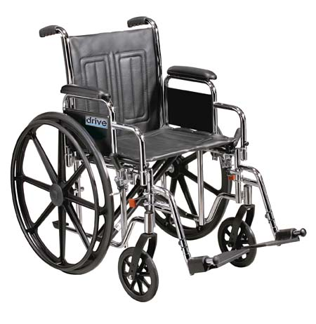 Drive Medical STD24ECDFA-ELR Sentra EC Heavy Duty Wheelchair with Various Arm Styles and Front Rigging Options- Black