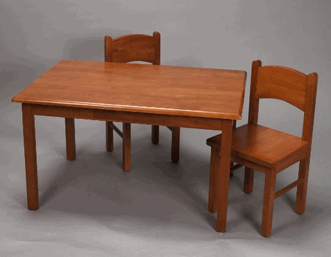 Giftmark 1406H Natural Hardwood Rectangle Table and Chair Set- Honey Finish
