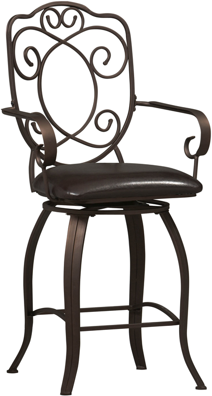 Linon Home Decor Products 02786MTL-01-KD-U Crested Back Counter Stool 24 inch