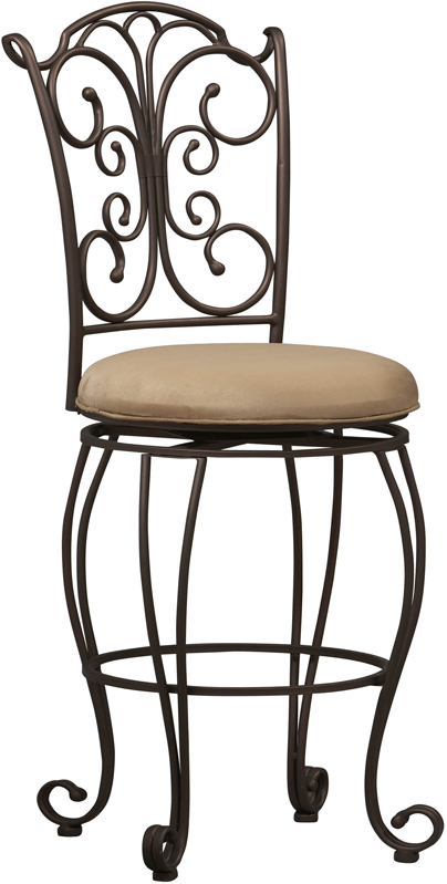 Linon Home Decor Products 02790MTL-01-KD-U Gathered Back Counter Stool 24 inch