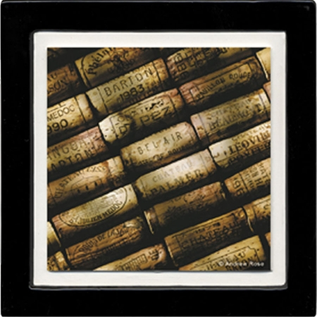 Thirstystone ANAS6 Absorbent Coaster Set Wine Corks Black Frame