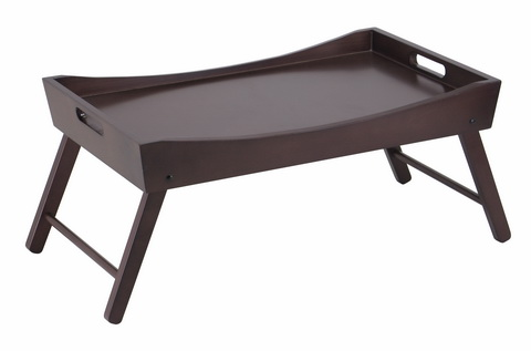 Winsome 92022 Benito Bed Tray with Curved Top Foldable Legs- Espresso