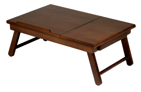 Winsome 94623 Alden Lap Desk Flip Top with Drawer Foldable Legs- Antique Walnut