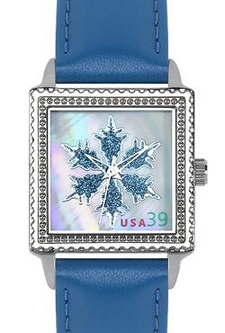 Arjang & Co HY-2020S-BL Ontario Snowflake Square Blue Strap