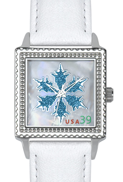 Arjang & Co HY-2020S-WH Ontario Snowflake Square White Strap