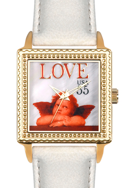 Arjang & Co PS-2004G-BE Love Cupid Square Gold colored -Watch