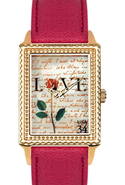 Arjang & Co PS-3006G-RD Love Letters Gold Colored Rectangular