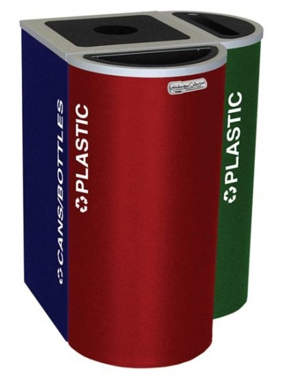 Ex-Cell Kaiser RC-KDHR-C RBX 8-gal recycling receptacle- half round top and Cans-Bottles decal- Ruby Testure finish