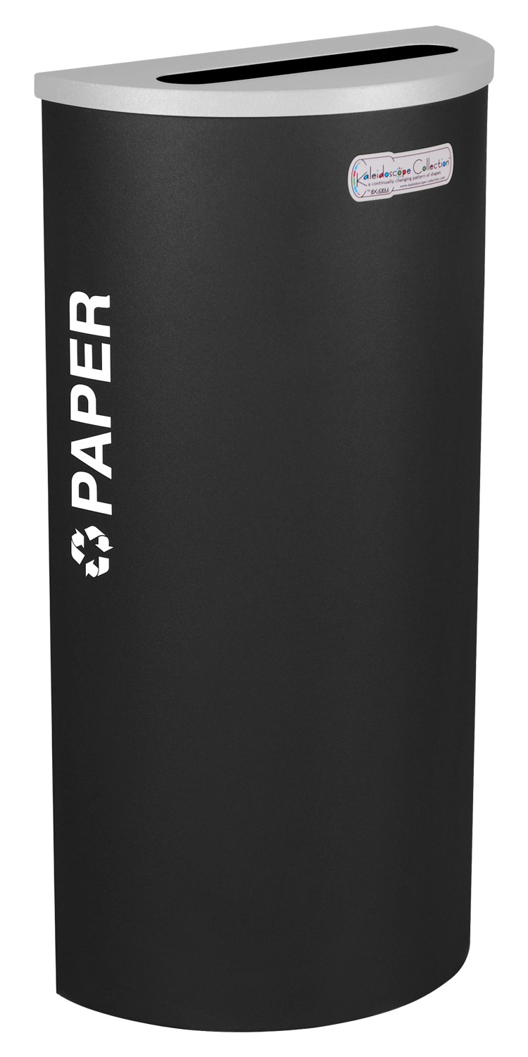 Ex-Cell Kaiser RC-KDHR-P BLX 8-gal recycling receptacle- half round top and Plastic decal- Black Texture finish
