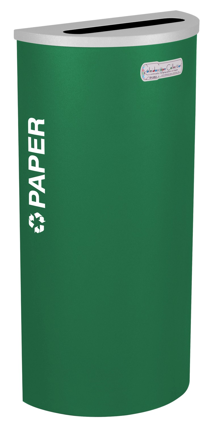 Ex-Cell Kaiser RC-KDHR-P EGX 8-gal recycling receptacle- half round top and Plastic decal- Emerald Texture finish