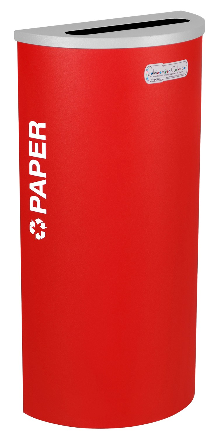 Ex-Cell Kaiser RC-KDHR-P RBX 8-gal recycling receptacle- half round top and Plastic decal- Ruby texture finish