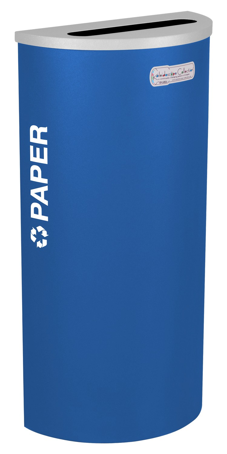 Ex-Cell Kaiser RC-KDHR-P RYX 8-gal recycling receptacle- half round top and Plastic decal- Royal Blue Texture finish