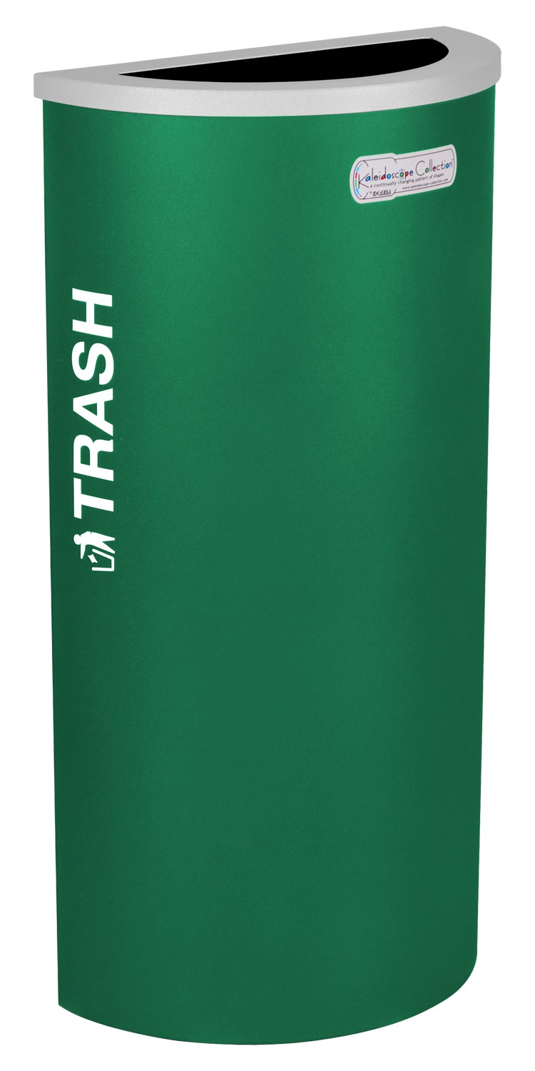 Ex-Cell Kaiser RC-KDHR-T EGX 8-gal recycling receptacle- half round top and Trash decal- Emerald Texture finish