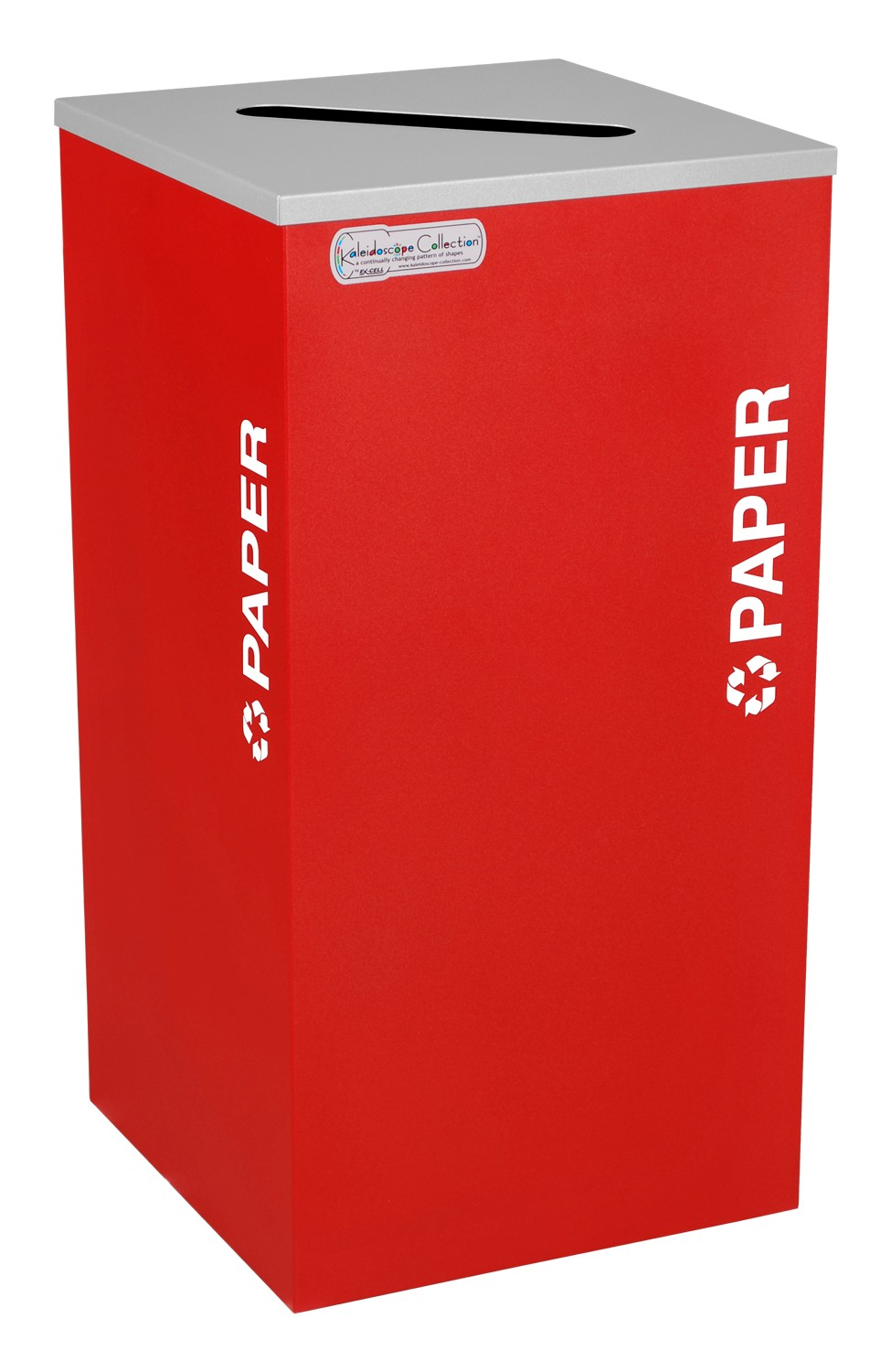 Ex-Cell Kaiser RC-KDSQ-P RBX 18-gal recycling recptacle- square top and Plastic decal- Ruby Texture finish
