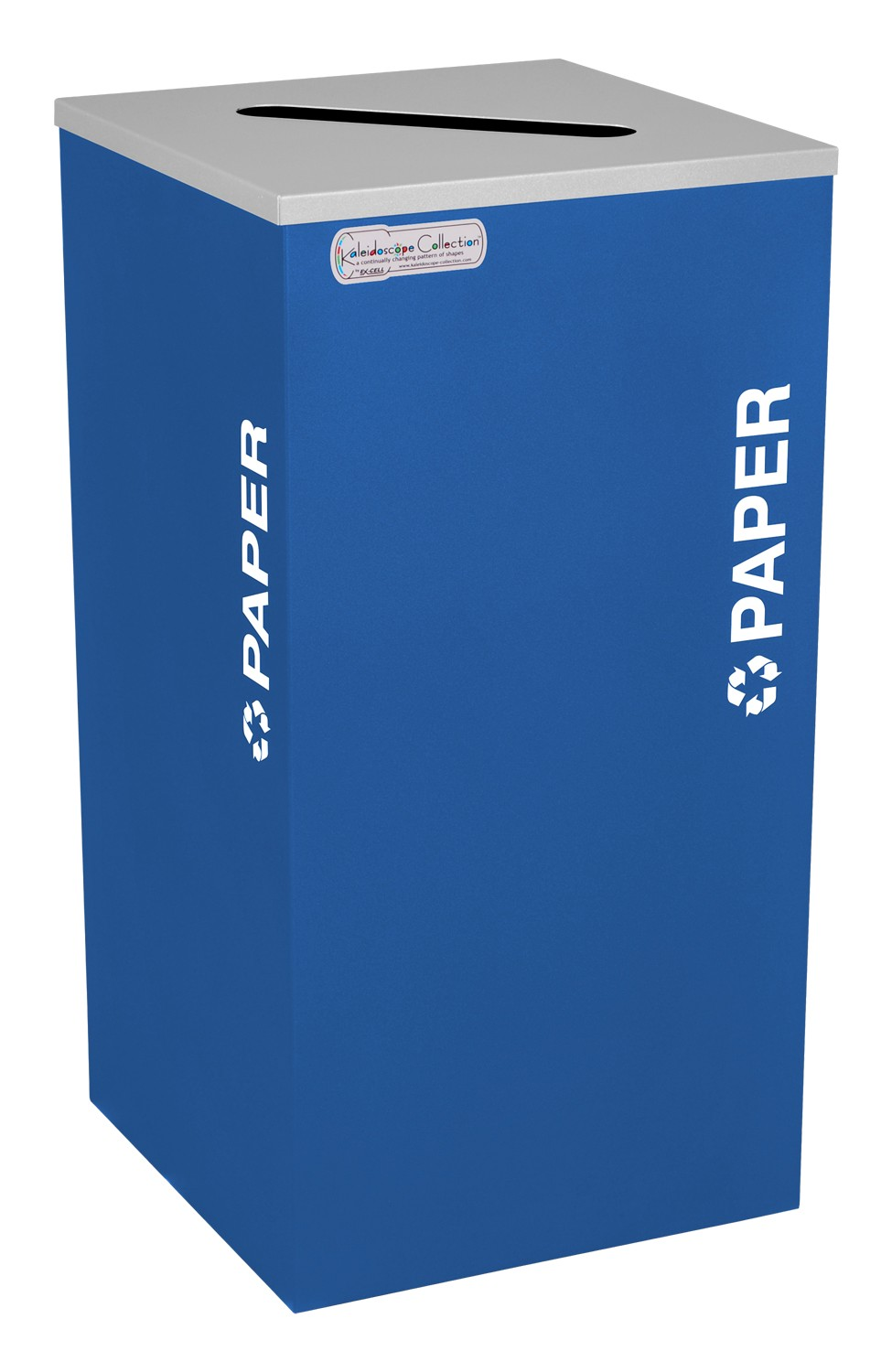 Ex-Cell Kaiser RC-KDSQ-P RYX 18-gal recycling recptacle- square top and Plastic decal- Royal Blue Texture finish