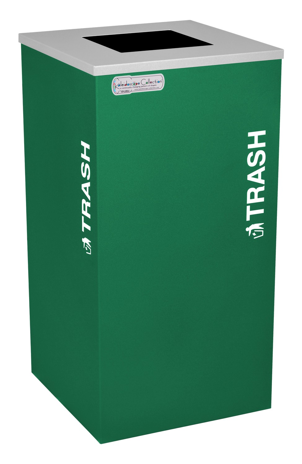 Ex-Cell Kaiser RC-KDSQ-T EGX 18-gal recycling recptacle- square top and Trash decal- Emerald Texture finish
