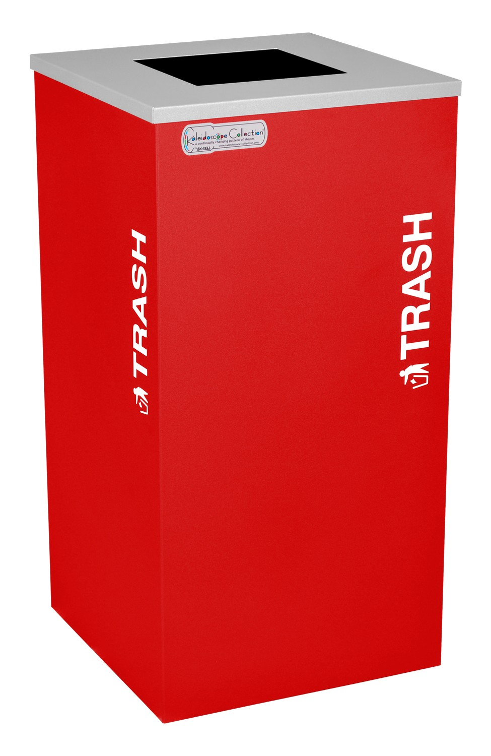 Ex-Cell Kaiser RC-KDSQ-T RBX 18-gal recycling recptacle- square top and Trash decal- Ruby Texture finish