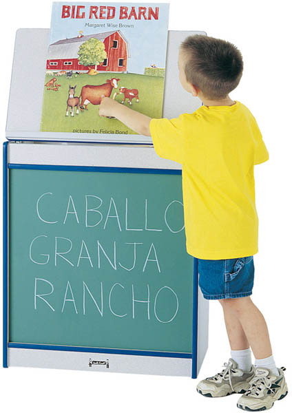 Jonti-Craft 0542JCWW114 Rainbow Accents Big Book Easel- Chalkboard- Orange