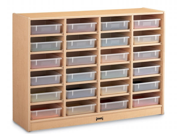 Jonti-Craft 06250JC011 Maplewave 24 Paper-Tray Cubbie With Clear Paper-Trays