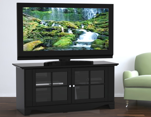 MFI-Nexera 100606 Pinnacle 56 inch TV Console- Black Lacqure Textured Top & Front