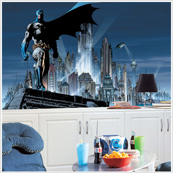 Roommates JL1066M Batman Chair Rail Prepasted Mural 6 ft x 10 ft