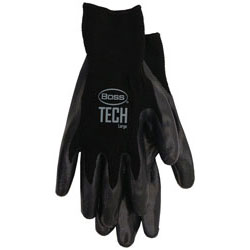Boss / Cat Gloves 7820M Tech Glove with Foam Cell Nitrile Coated Palm and Fingers - Medium