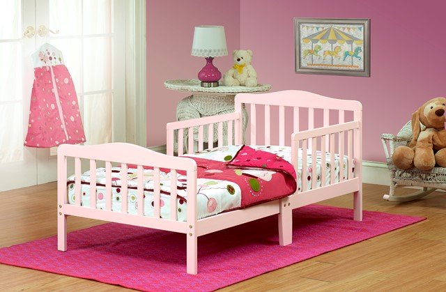 Orbelle Trading 401P Solid Wood Pink Toddler Bed