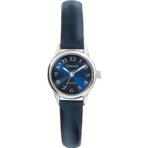 Carr C2A871 Women's Silver Tone Round Case Blue Dial Blue Leather Strap Watch